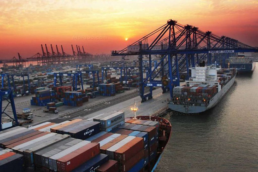 Where are the largest container ports in the world located?